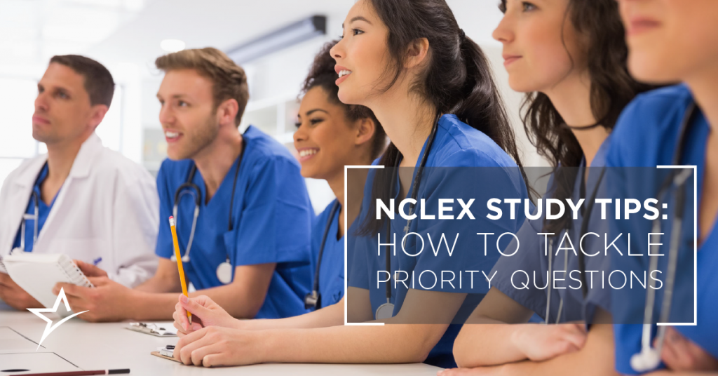 Student nurses studying priorities questions for the NCLEX