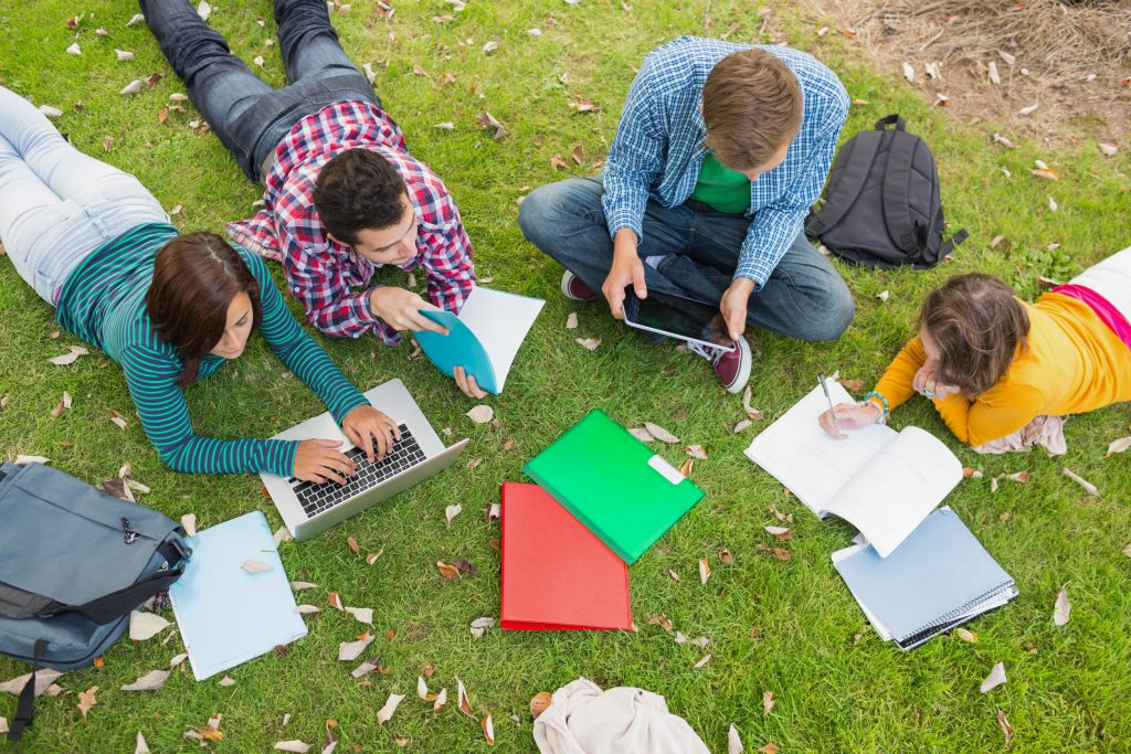 Group of students busy studying together in a park