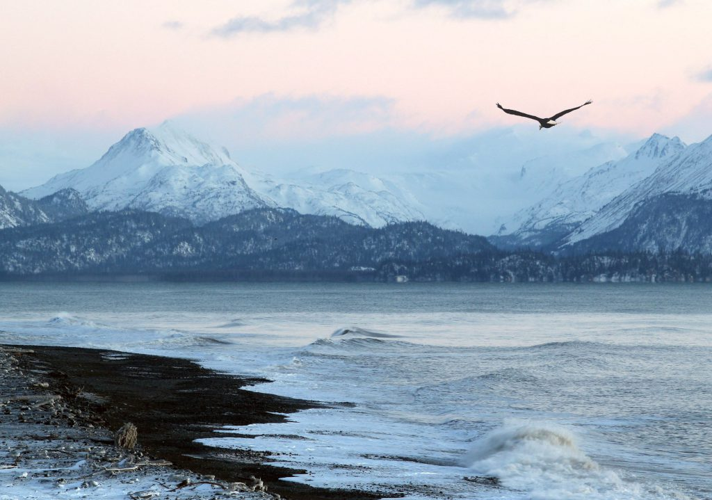 Snowy beach in Alaska where nurses can get paid a high salary