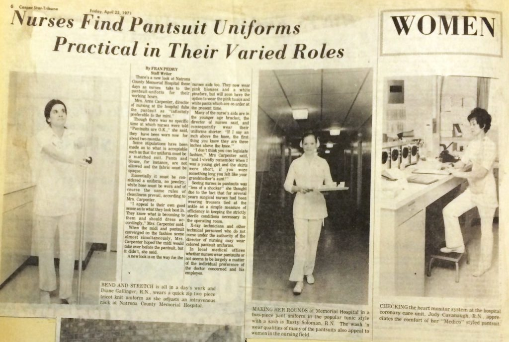 Clipping of nurses in the 1970s wearing a pantsuit uniform