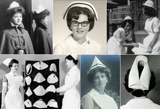 Nurses wearing different types of nursing caps
