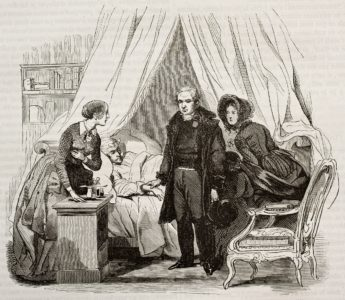 A doctor and nurse visit an ill patient in 1843