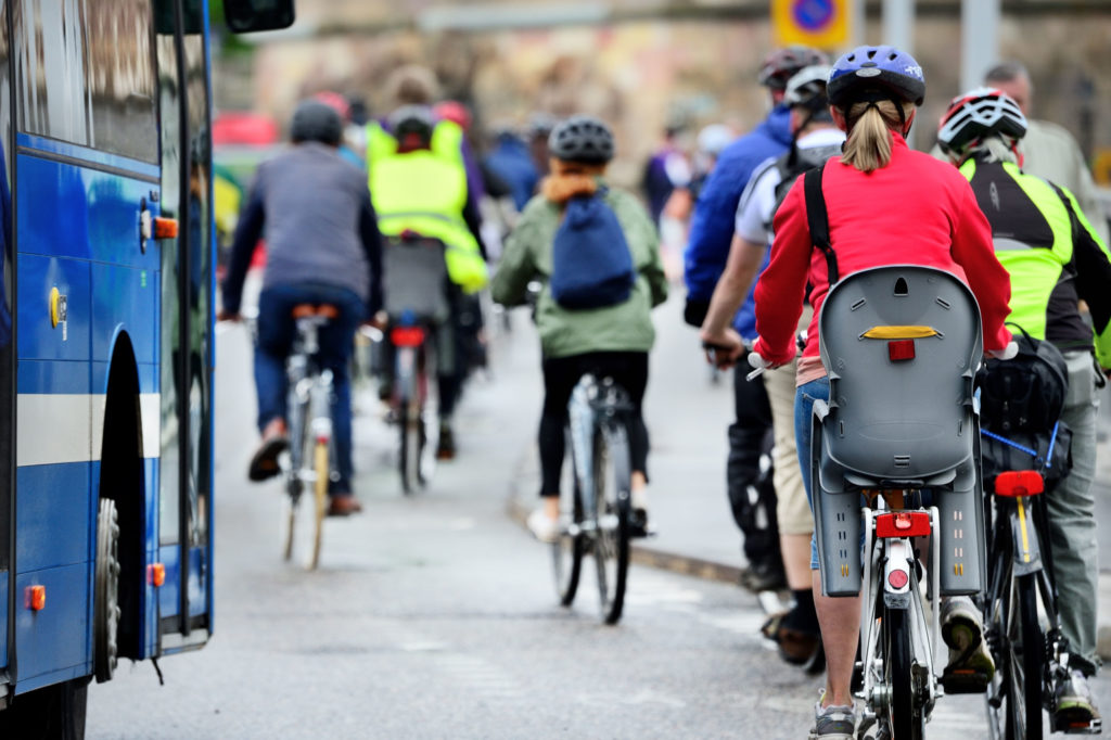 Commuters stay healthy by biking to work
