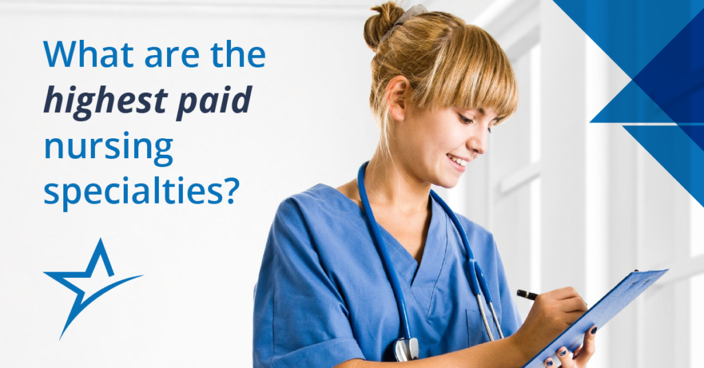"""Blonde female nurse in blue scrubs smiling and writing on a clipboard with graphic text overlay """"what are the highest paid nursing specialties?"""""""